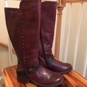 OTBT CACHE BOOTS BURGUNDY LEATHER SIDE ZIP NET 8.5